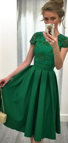 A-Line Scoop Neckline Cap Sleeves Green Short Prom Dresses With Beading,FPPD126