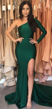 Sexy Mermaid One Shoulder Long Sleeves Side Slit Prom Dresses,FPPD201