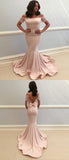 Mermaid Off Shoulder Champagne Satin Floor Length Prom Dresses,FPPD055
