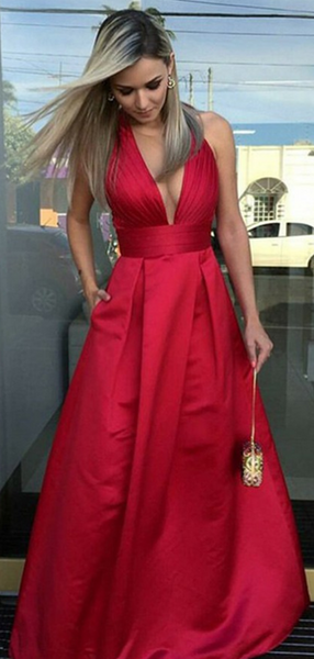A-Line Deep V-Neck Red Long Prom Dresses With Pockets,FPPD112