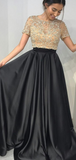 A-Line Two Pieces Round Neck Short Sleeves Black Long Prom Dresses With Beading,FPPD136