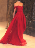 A-Line Off Shoulder Sweep Train Red Long Prom Dresses,FPPD120
