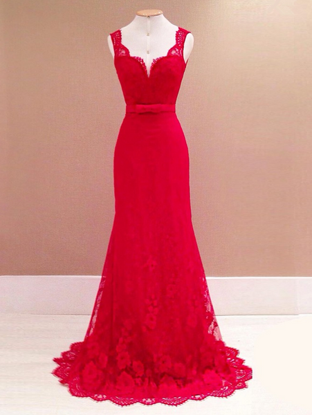 Mermaid Two Straps V-Neck Red Long Prom Dresses With Lace,FPPD180