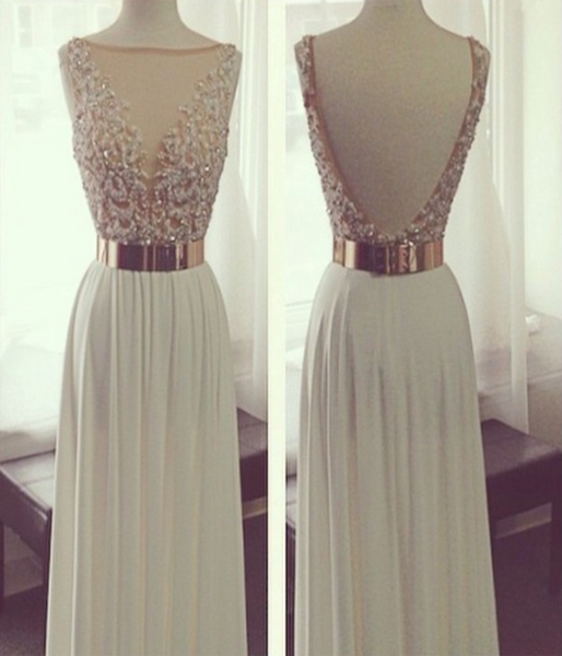 A-Line V-Neck Sleeveless Sweep Train White Chiffon Long Prom Dresses With Beading,FPPD213