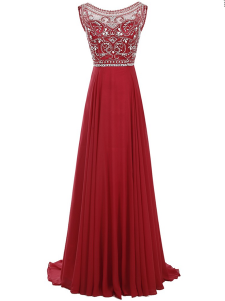 A-Line Scoop Neckline Sleeveless Dark Red Chiffon Long Prom Dresses With Beading,FPPD209