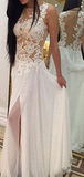 A-Line Scoop Neckline Sleeveless Side Slit Chiffon Long Prom Dresses With Appliques,FPPD211