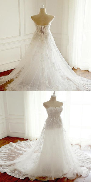 2019 New Arrival Sexy Strapless See Through Lace A line Wedding Bridal Dresses, Custom Made Wedding Dresses, Affordable Wedding Bridal Gowns,FPWD022