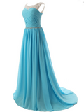 Charming A-Line Scoop Neckline Sleeveless Chiffon Long Prom Dresses With Beading,FPPD223