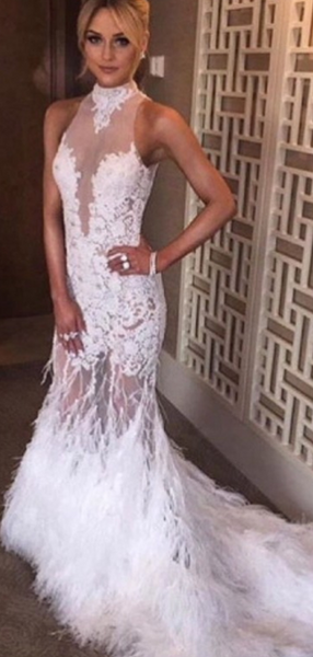 Sexy Mermaid Halter Sleeveless Appliqued Feather Long Prom Dresses With High Neck,FPPD227