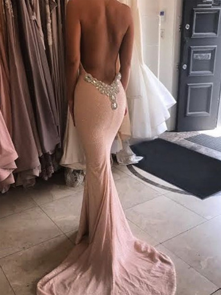 Mermaid Halter Sleeveless Long Prom Dresses With Open Back,FPPD224