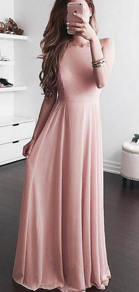 A-Line Square Sleeveless Chiffon Cheap Long Prom Dresses Online,FPPD222
