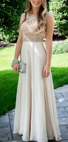 A-Line Scoop Neckline Sleeveless Long Prom Dresses With Beading,FPPD220