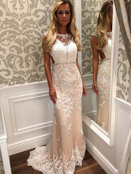 Sexy Mermaid Cap Sleeves Appliqued Long Prom Dresses With Beading,FPPD237
