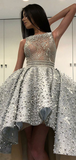 A-Line Round Neck Sleeveless High Low Laced Prom Dresses With Pearls,FPPD231