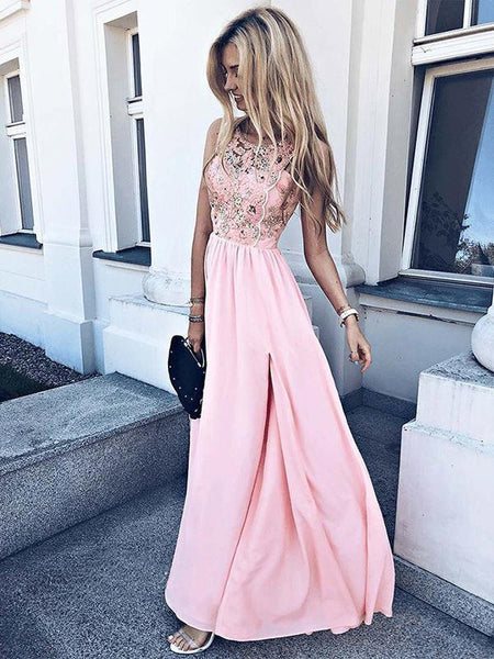 A-Line Round Neck Sleeveless Pink Chiffon Long Prom Dresses With Appliques,FPPD232