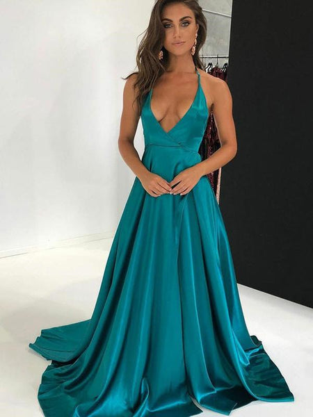 Sexy A-Line Deep V-Neck Halter Sleeveless Side Slit Long Prom Dresses With Open Back,FPPD236