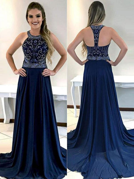 A-Line Round Neck Sleeveless Chiffon Prom Dresses With Beading,FPPD239