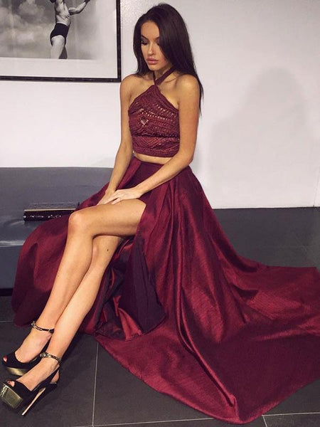 A-Line Two Pieces Halter Sleeveless Side Slit Long Prom Dresses With Lace,FPPD240