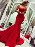 Sexy Mermaid Sweetheart Backless Red Sweep Train Prom Dresses,FPPD247