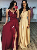 A-Line V-Neck Spaghetti Straps Side Slit Long Prom Dresses,FPPD242