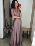 A-Line V-Neck Half Sleeves Appliqued Cheap Long Prom Dresses,FPPD241