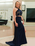 Mermaid Cross Neck Sleeveless Two Pieces Navy Blue Long Prom Dresses With Lace,FPPD245