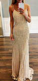Sexy V-Neck Spaghetti Straps Custom Long Prom Dresses With Beading,FPPD257