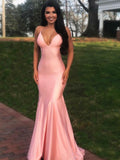 Sexy Deep V-Neck Mermaid Halter Backless Pink Long Prom Dresses,FPPD254