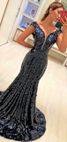 Sexy Deep V-Neck Off Shoulder Cap Sleeves Sequined Long Prom Dresses,FPPD255