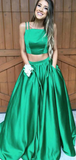 A-Line Two Pieces Square Neck Spaghetti Straps Green Long Prom Dresses,FPPD261
