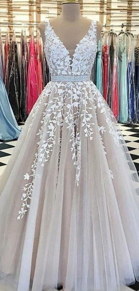 A-Line V-Neck Two Straps V-Back Appliqued Long Prom Dresses,FPPD263