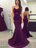 Sexy Mermaid Halter Sleeveless Open Back Sweep Train Prom Dresses,FPPD267