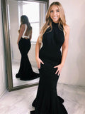 Mermaid Jewel Sleeveless Open Back Black Long Prom Dresses,FPPD277