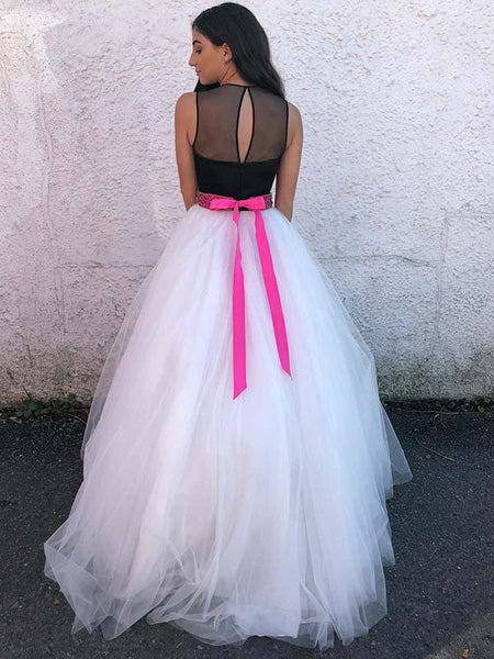 A-Line Scoop Neckline Sleeveless Tulle Long Prom Dresses With Beading,FPPD270