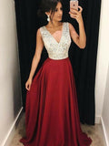 A-Line V-Neck Sleeveless Long Prom Dresses With Beading,FPPD273