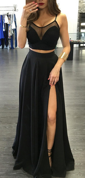 See Through A-Line Two Pieces Sleeveless Side Slit Black Long Prom Dresses,FPPD278