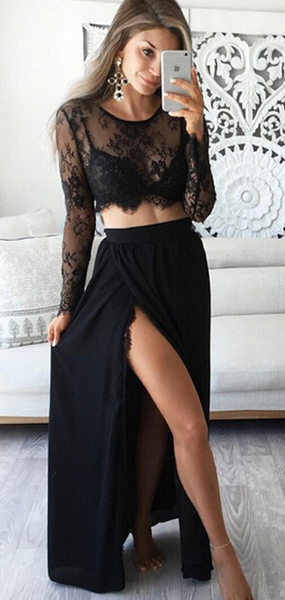 Awesome A-Line Two Pieces Scoop Neckline Black Laced Prom Dresses With Long Sleeves,FPPD275