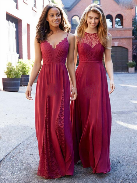 A-Line Mismatched Red Chiffon Long Bridesmaid Dresses With Lace,FPWG008