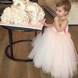 Ball Gown Round Neck Sleeveless Tulle Sequined  Flower Girl Dresses With Bowknot,FG008
