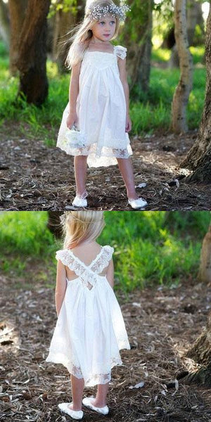 Simple A-Line Square Neck Cap Sleeves Laced Flower Girl Dresses With Beading,FG011