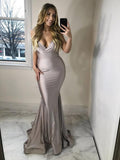 Mermaid Spaghetti Straps Grey Long Prom Dresses,FPPD057