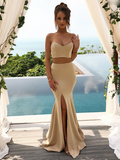 Sexy Mermaid Two Pieces Sweetheart Long Bridesmaid Dresses,FPWG009