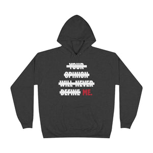 "FYC ""NO OPINIONS"" Charcoal Heather Unisex EcoSmart® Hoodie"