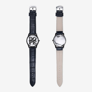 "DOPE ""Classic"" Unisex Quartz Watch with Black Leather Band"
