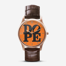 "Load image into Gallery viewer, DOPE ""ORANGE PUNCH"" Quartz Watch with Brown Leather Band"