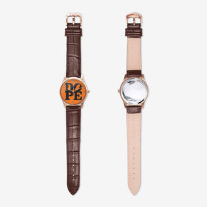 "DOPE ""ORANGE PUNCH"" Quartz Watch with Brown Leather Band"