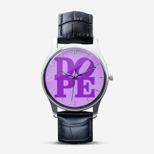 "Load image into Gallery viewer, DOPE ""PURP"" Unisex Print Quartz Watch with Black Leather Band"