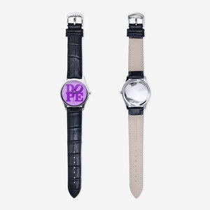 "DOPE ""PURP"" Unisex Print Quartz Watch with Black Leather Band"