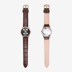 No Time for Racism Watch Black Dial with Brown Leather Band