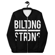 Load image into Gallery viewer, BILTONG STRONG - Unisex Bomber Jacket in Black